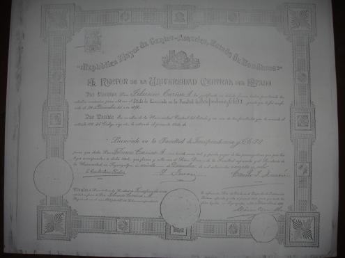 Titulo de Licenciado de la Facultad de Jurisprudencia, 1898, otorgado a Tiburcio Carías Andino por la Universidad Central del Estado de Honduras